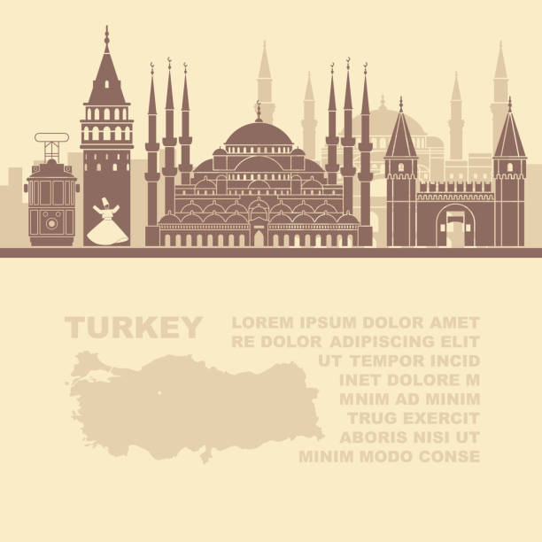Template leaflets with a map of Turkey and landmarks of Istambul vector art illustration