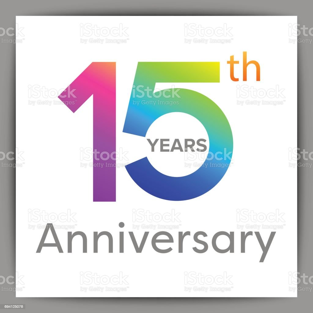 Template logo 15th anniversary with a circle, number 1 and 5 colorful vector illustration vector art illustration