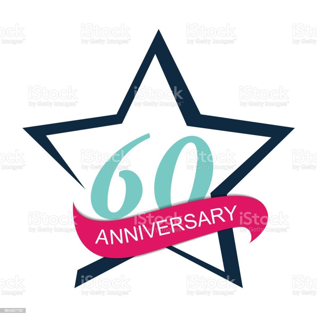 Template Logo 60 Anniversary Vector Illustration vector art illustration