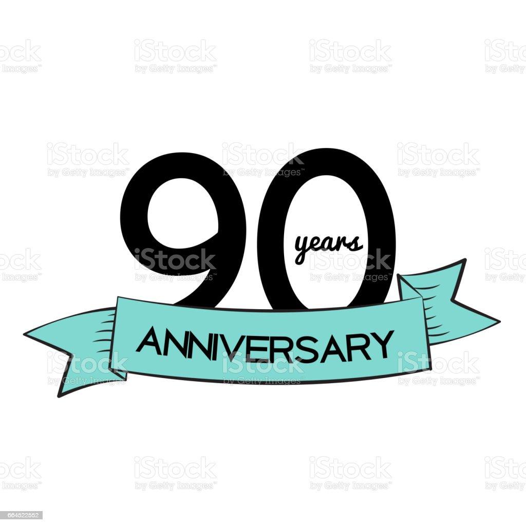 Template Logo 90 Years Anniversary Vector Illustration royalty-free template logo 90 years anniversary vector illustration stock vector art & more images of anniversary