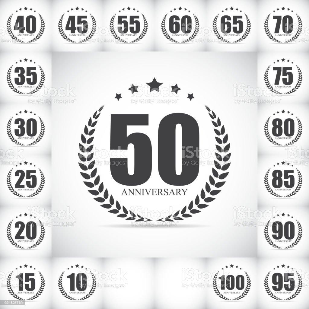 Template Logo Anniversary Set Vector Illustration vector art illustration