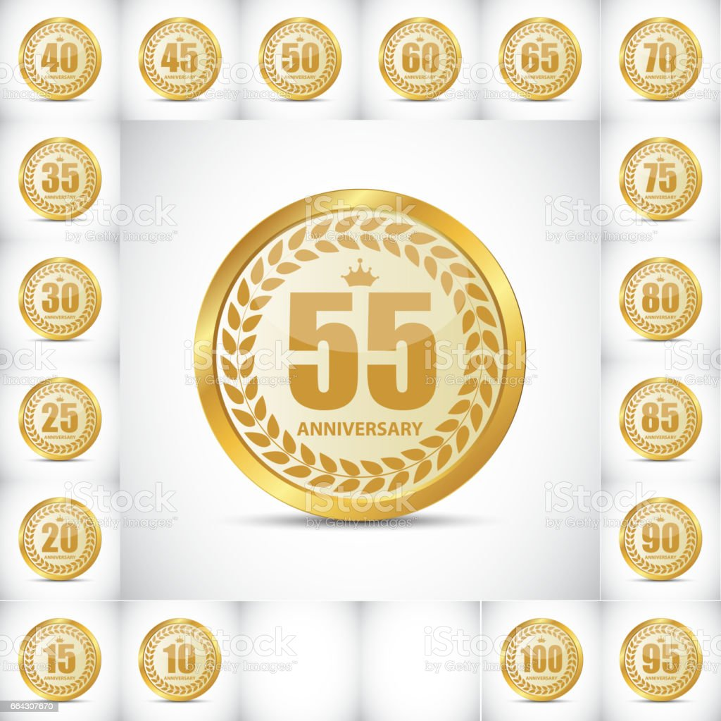 ОсновныеTemplate Logo Set aniversario Vector Illustrat - ilustración de arte vectorial