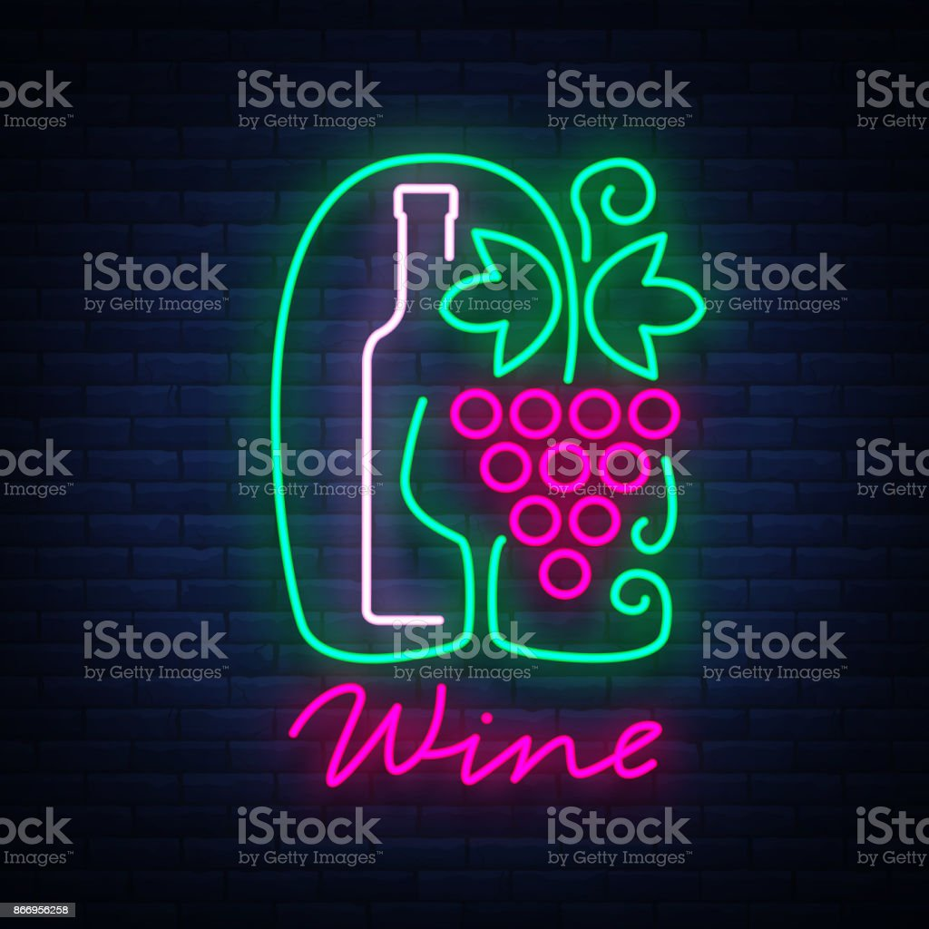 Vorlage Logo Weinbar In Einem Trendigen Neonstil Logo Abzeichen ...