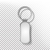 Template Metal Keychain Vector. Realistic Illustration. Key Chain Or Pendants Mock Up