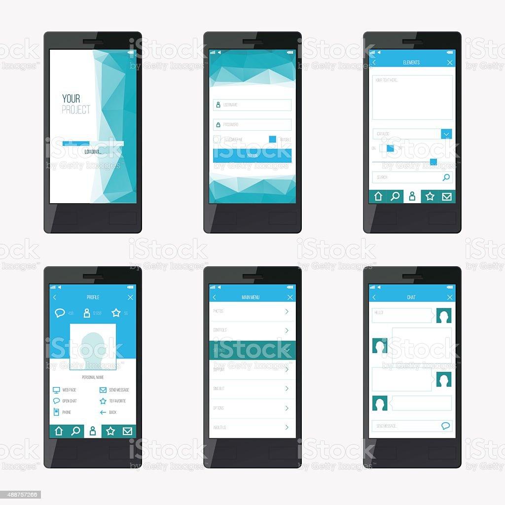 Vorlage Mobile Anwendunginterfacedesign Für Website Und Mo Vektor ...