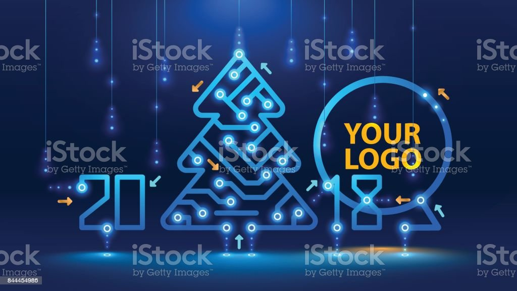 Template new year and Christmas cards in the style of new technologies. vector art illustration