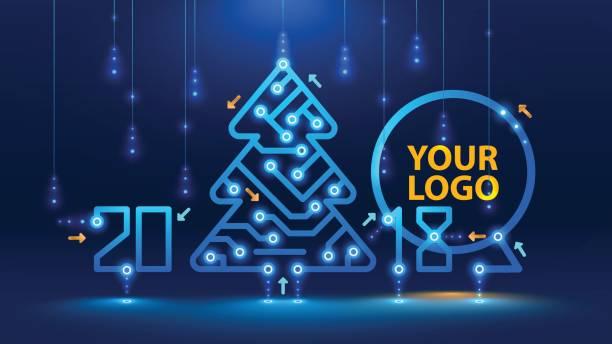 vorlage-neujahr und weihnachten karten im stil der neuen technologien. - firmenweihnachtsfeier stock-grafiken, -clipart, -cartoons und -symbole