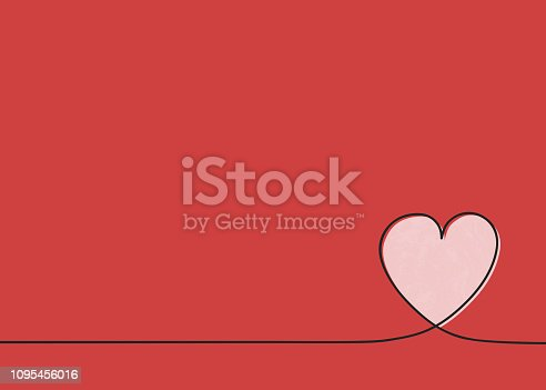 istock Template of a card with cute heart. Mother's Day, Women's Day and Valentine's Day. Vector 1095456016