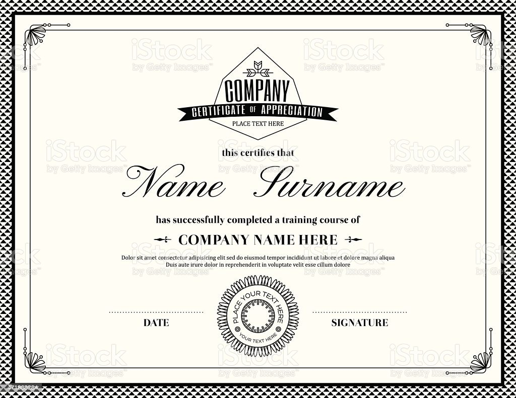Template of a retro style certificate of completion vector art illustration