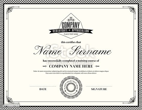 Template Of A Retro Style Certificate Of Completion Stock