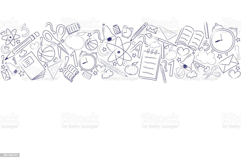 Plantilla del cartel de la escuela con mano dibujado copyspace y accesorios. Vector. - ilustración de arte vectorial