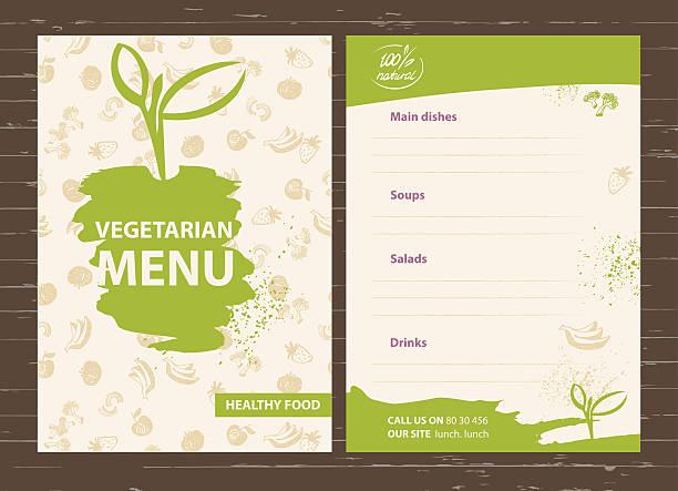 vorlage eines vegetarische menü für ein café, ein restaurant und eine bar. - salatbar stock-grafiken, -clipart, -cartoons und -symbole