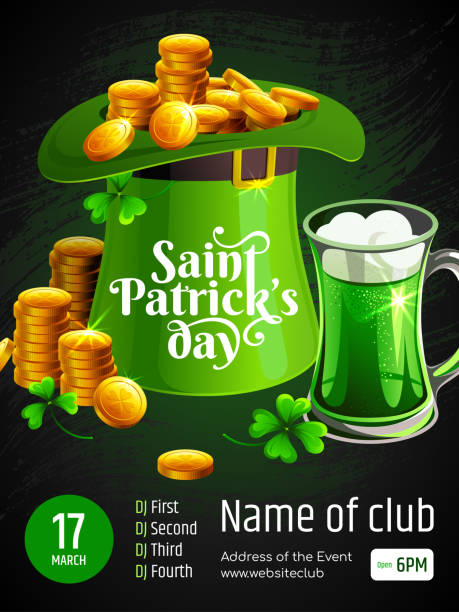 Template of Banner - Saint Patrick's day. Illustration with text, Leprechaun's hat, coins, Clover and mug of beer on black hand drawn background. vector art illustration