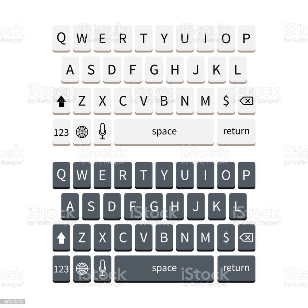 Template of black and white smartphone keyboard isolated on white. Mobile phone keypad mockup.