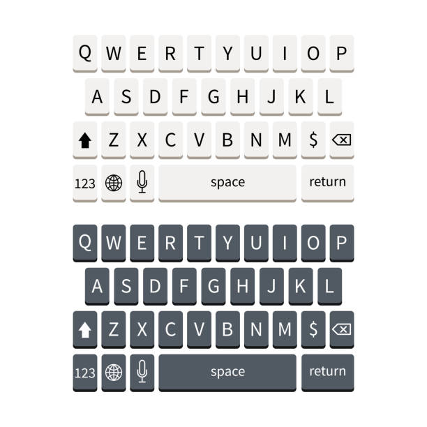 template of black and white smartphone keyboard isolated on white. mobile phone keypad mockup. - computer keyboard stock illustrations, clip art, cartoons, & icons