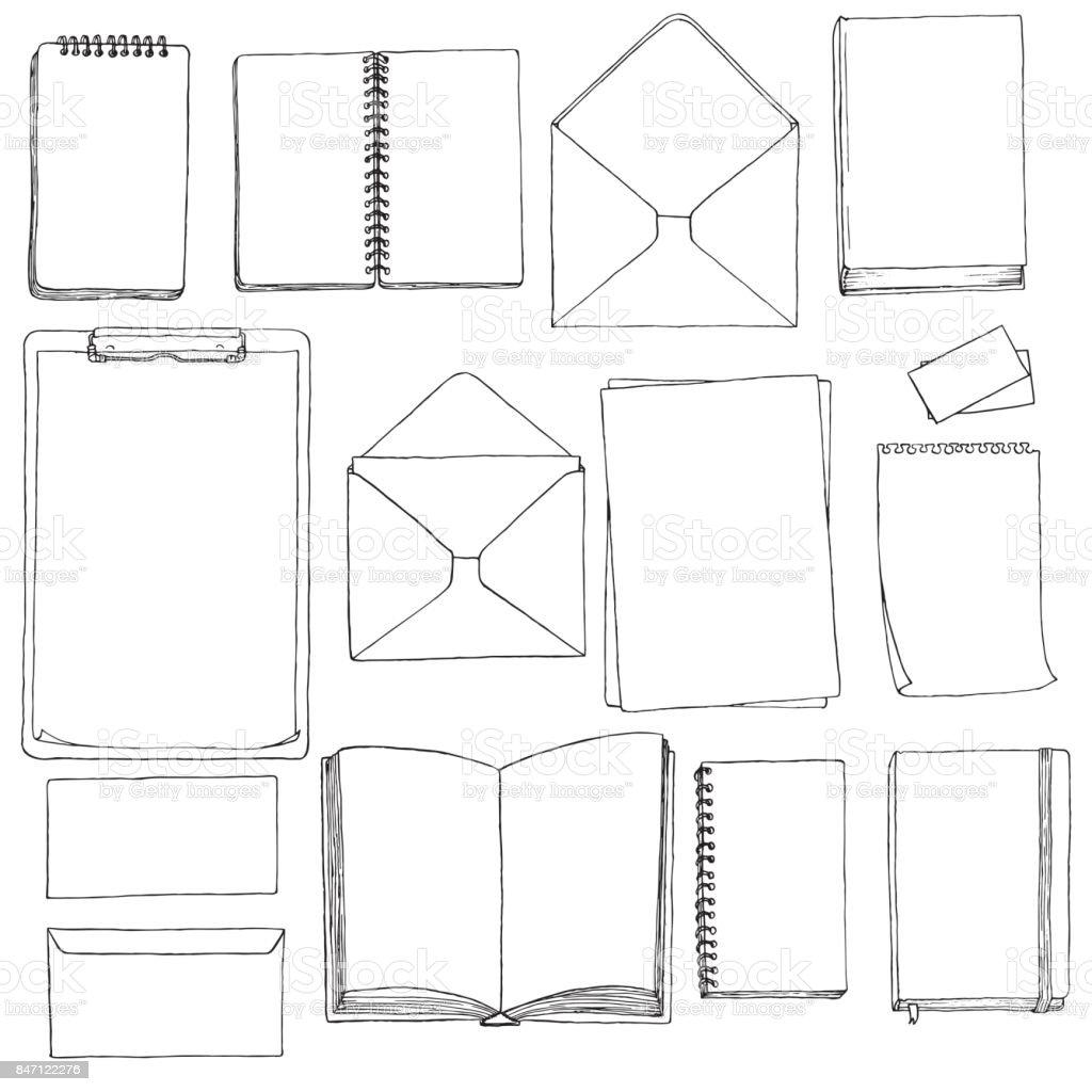 Vorlage Von Rohlingen Und Bücher Vektor Illustration 847122276   iStock