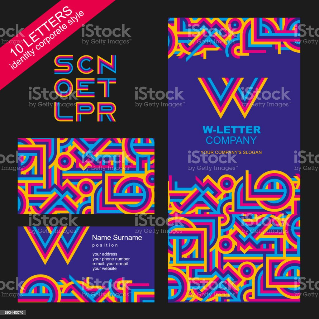 Template of brand name from bright lines. Modern, graphic style of the company. The letters s, c, n, o, e, t, l, p, r. Corporate style: a sign, a business card, a booklet cover or a corporate folder, a web icon. Abstract pattern of bright, intersecting li vector art illustration