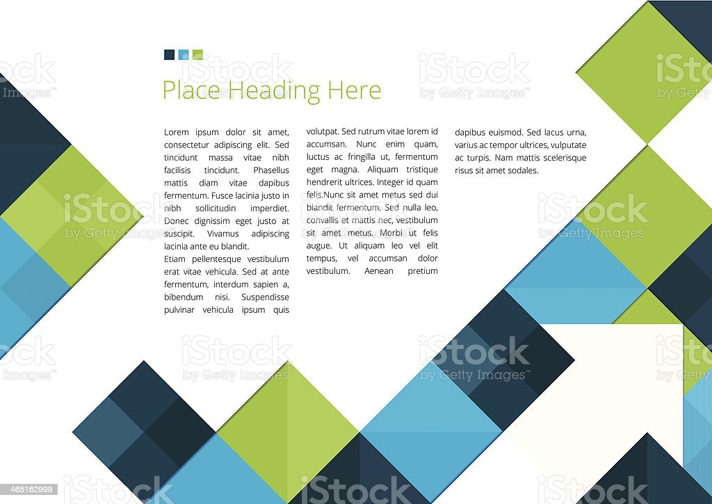 Template Of Brochure Design Using Squares And Arrow Border Stock