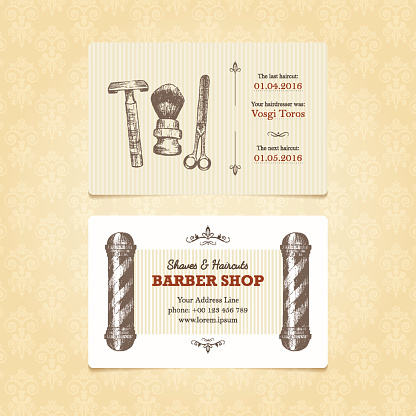 Template of business card in retro style for barber shop.