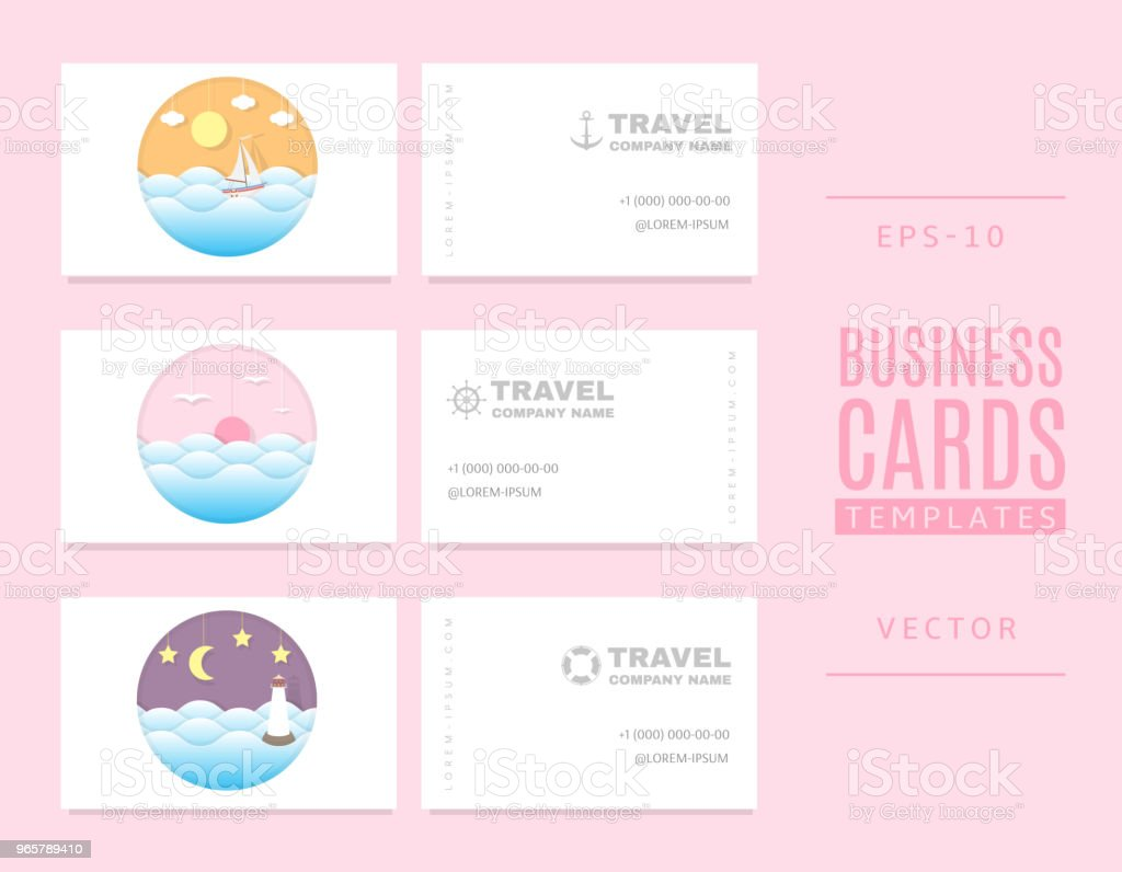 Template of business cards in a marine style. Good for tourists, travel agents and tour operators. - Royalty-free Adventure stock vector