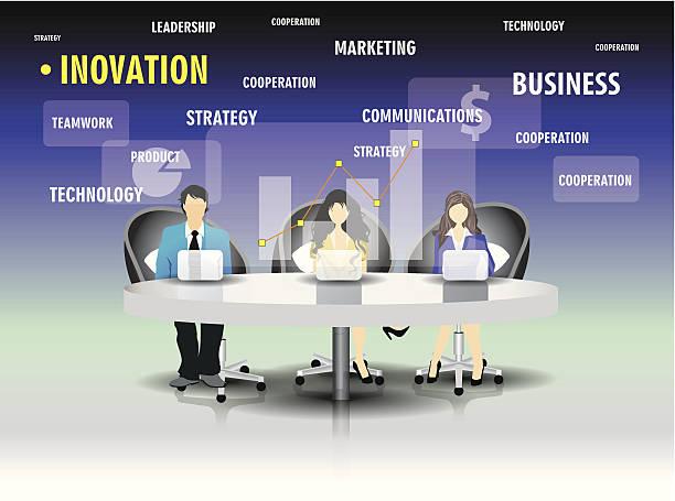 ilustrações de stock, clip art, desenhos animados e ícones de modelo de equipe de pessoas de negócios sentado na mesa. - business woman hologram