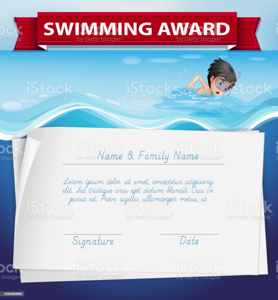 Vetores De Modelo De Certificado De Prêmio Para Natação E