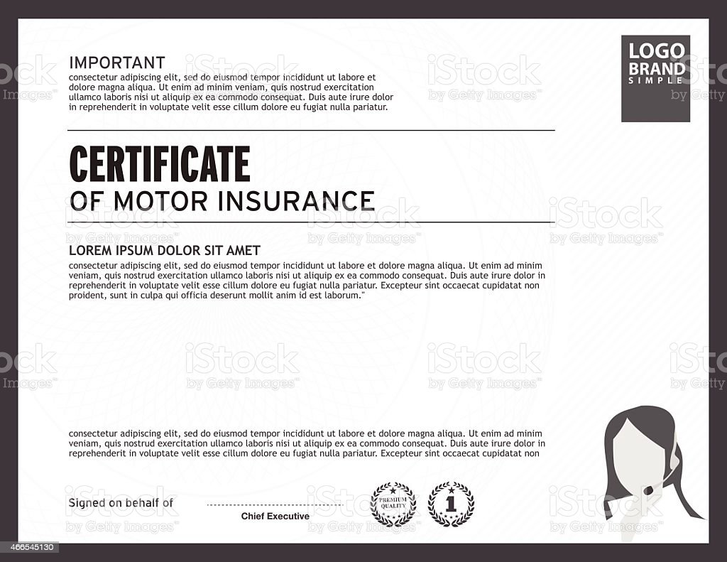 Template Of Certificate Motor Insurance With Woman Logo Royalty Free  Template Of Certificate Motor Insurance