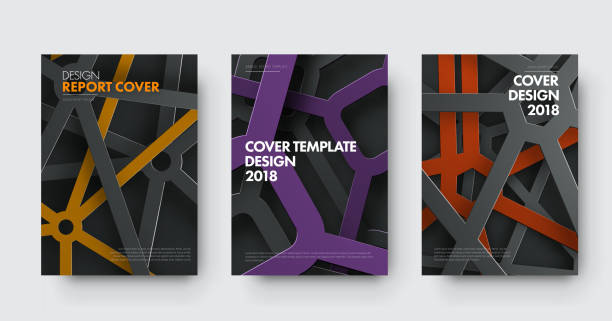 Template of covers in modern style with intersecting lines and colored elements in spiderweb vector art illustration
