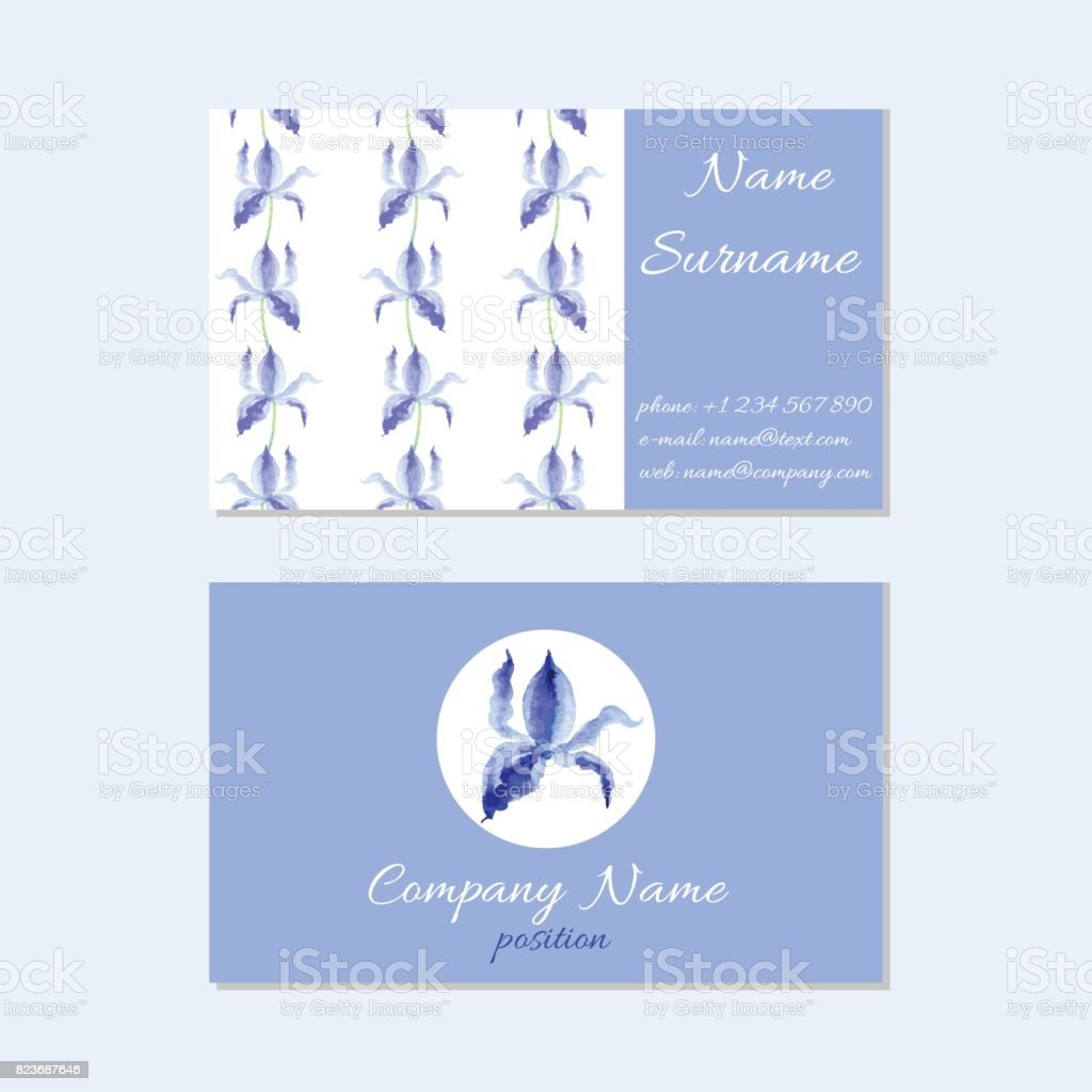 Template Of Elegant Business Cards With Watercolor Hand Drawn Flower ...