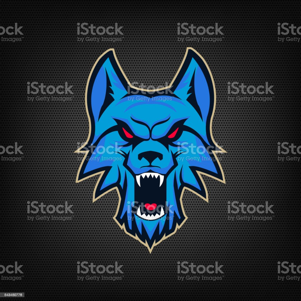 template of emblem with angry wolf head stock vector art more