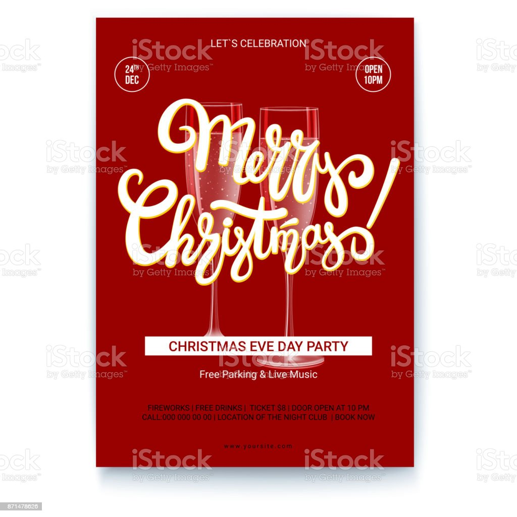 Template Of Greetings Poster Of Merry Christmas With Text Design