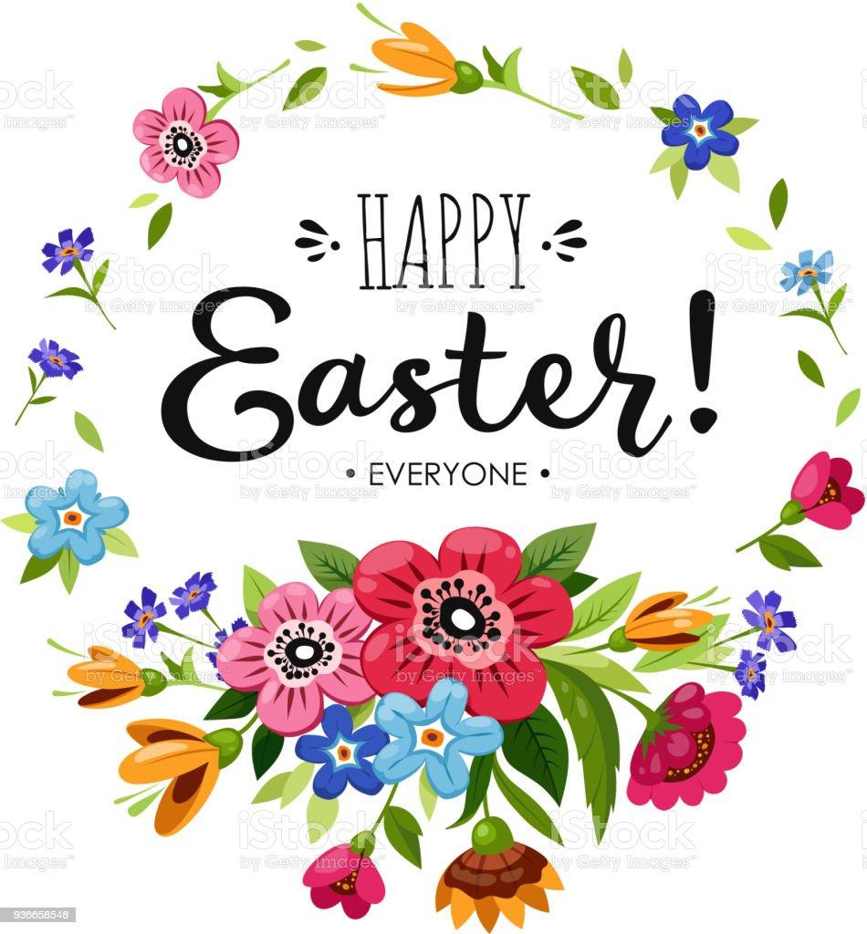 Frohe Ostern Karte.Vorlage Frohe Ostern Karte Schriftzug Happy Ostern Alle In