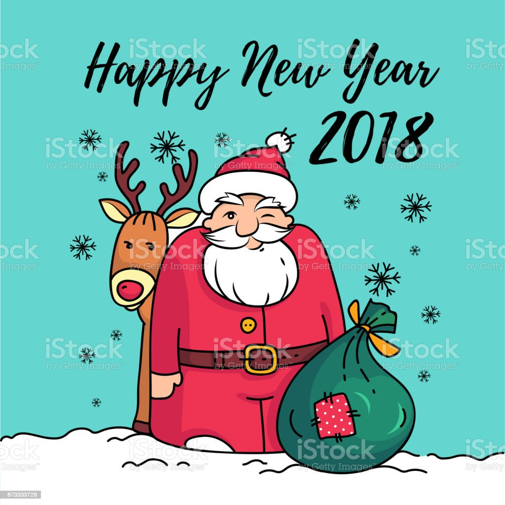 template of happy new year 2018 card with santa claussanta with reindeer bag