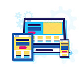 Template of header for a web site for web design and development of user interface, prototyping and adaptation for mobile applications.