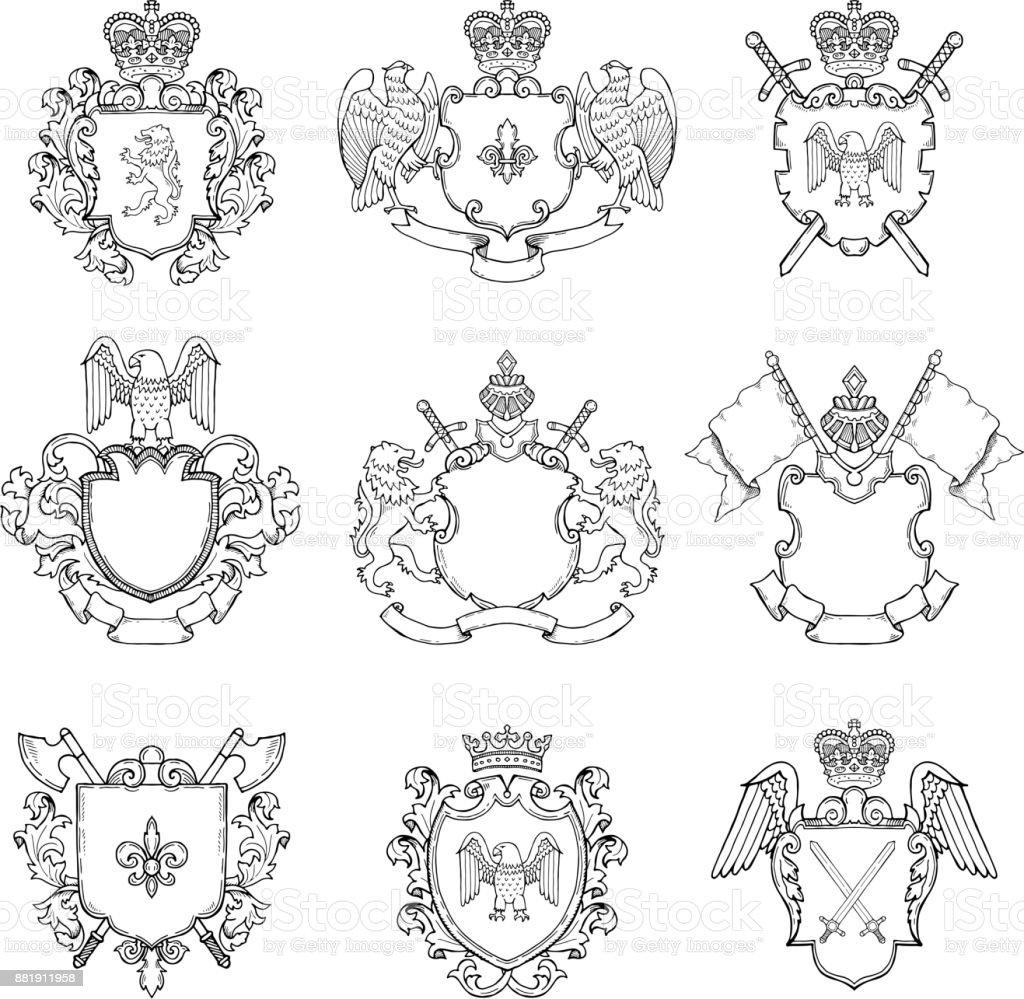 Ilustración de Plantilla De Emblemas Heráldicos Diversos Marcos ...