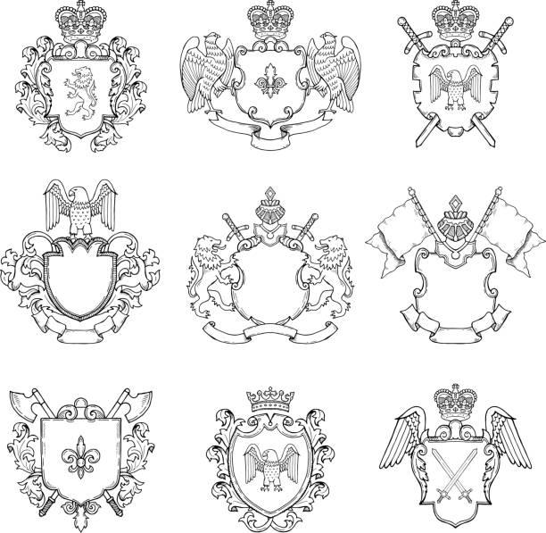전 령 엠 블 럼의 템플릿입니다. 아이콘 또는 배지 디자인을 위한 다른 빈 프레임 - 왕족 stock illustrations
