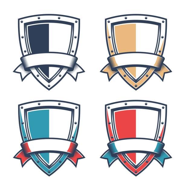 Bекторная иллюстрация Template of heraldic logo with knight triangular shield