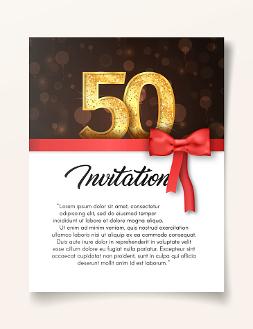 Template of invitation card to the day of the fiftieth anniversary with abstract text vector illustration. To 50th years eve card invite.