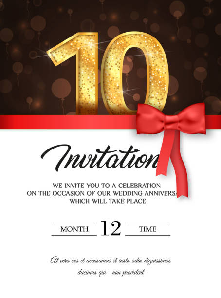 Template of invitation card to the day of the tenth anniversary with abstract text vector illustration To 10th years eve card invite Template of invitation card to the day of the tenth anniversary with abstract text vector illustration To 10 th years eve card invite invitational stock illustrations