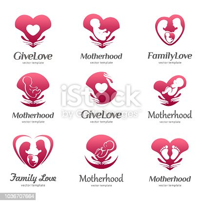 Template of motherhood, baby care, family love, pregnancy, childbearing