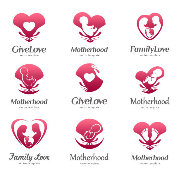 Template of motherhood, baby care, family love, pregnancy, childbearing vector art illustration