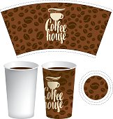 template of paper cup for hot drink