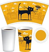 template of paper cup for hot drink with a picture of the old town and black cat