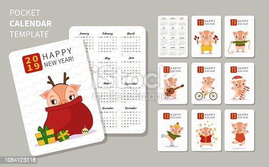 Pocket Calendar Template Printable 2019 Calendars Pdf Calendar 12