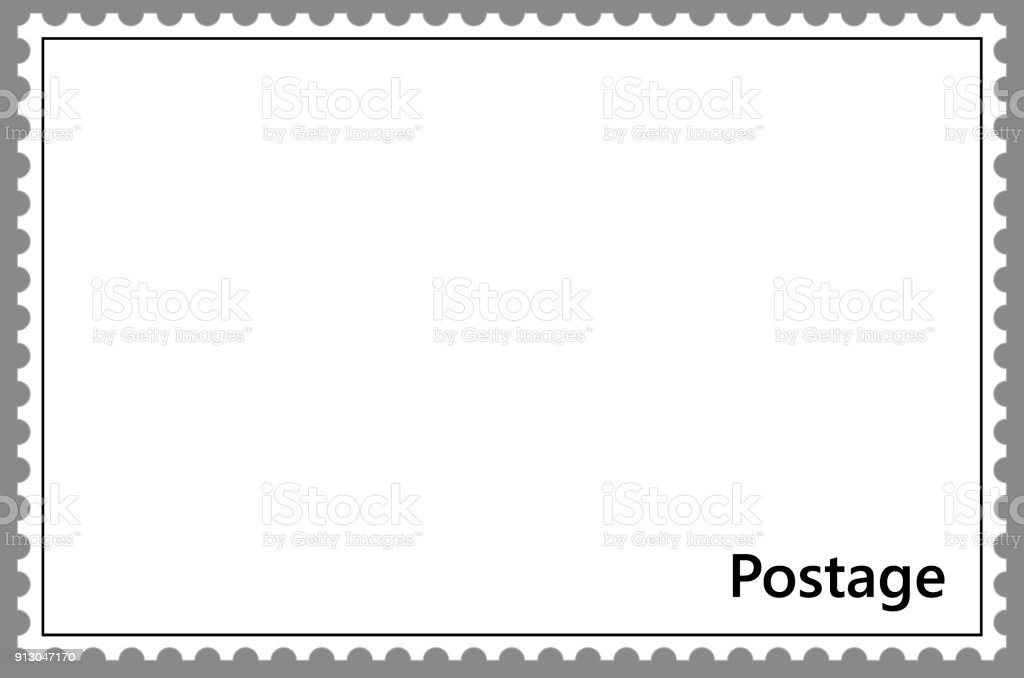 template of postage stamp with frame simple perforation stock vector