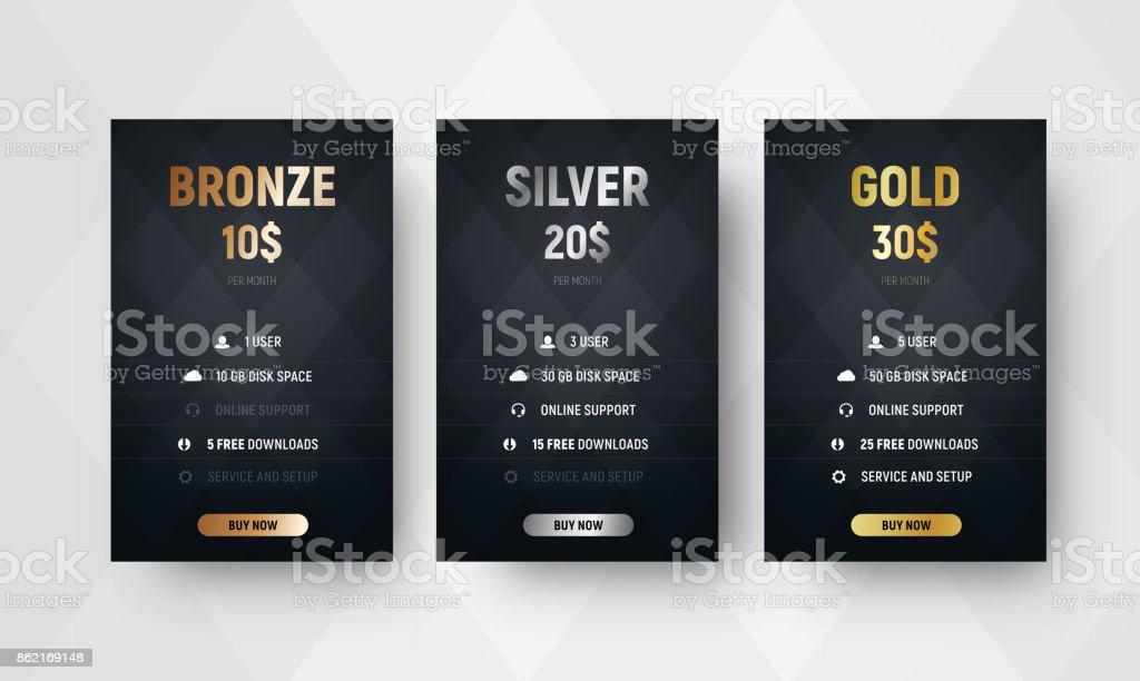 Vorlage der Premium-Vektor Preistabellen mit einem schwarzen Hintergrund mit Rauten. – Vektorgrafik