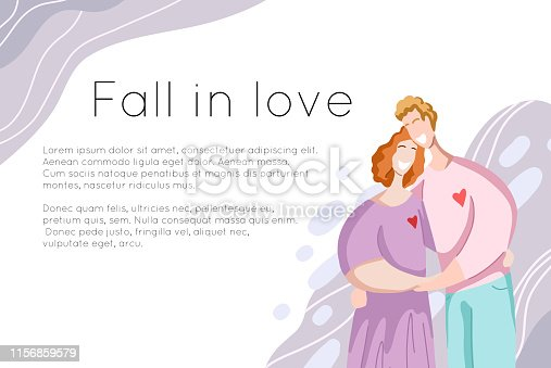 Template of site banner with happy couple hugging and laughing with place for text. Relationships and love. Flat modern family people. Vector element