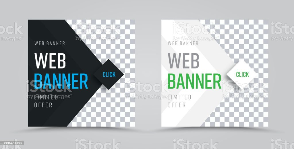 template of square web banners with a place for a photo and a