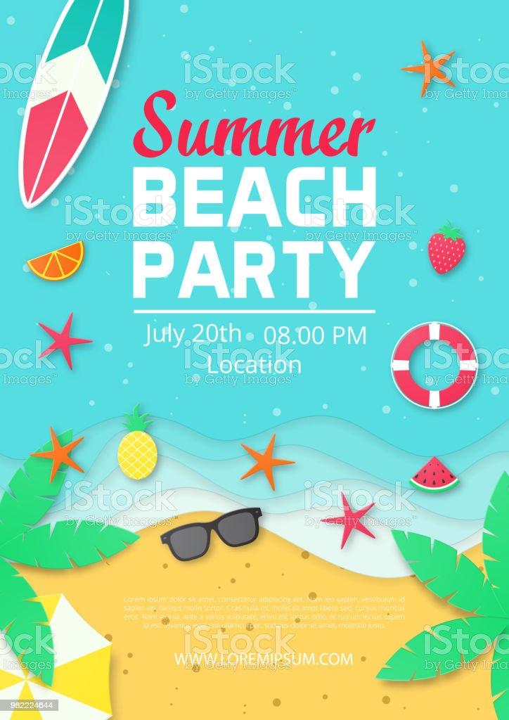 ビーチで夏パーティ告知ポスターのテンプレート紙のカット スタイル