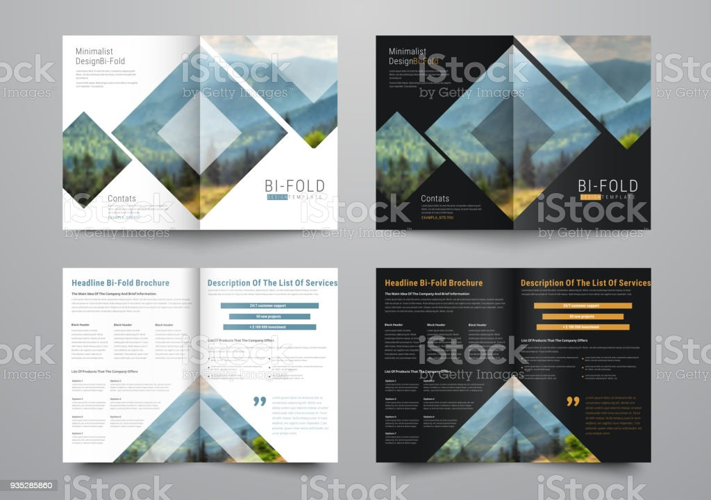 template of the bifold brochure with rhombuses and triangles for the